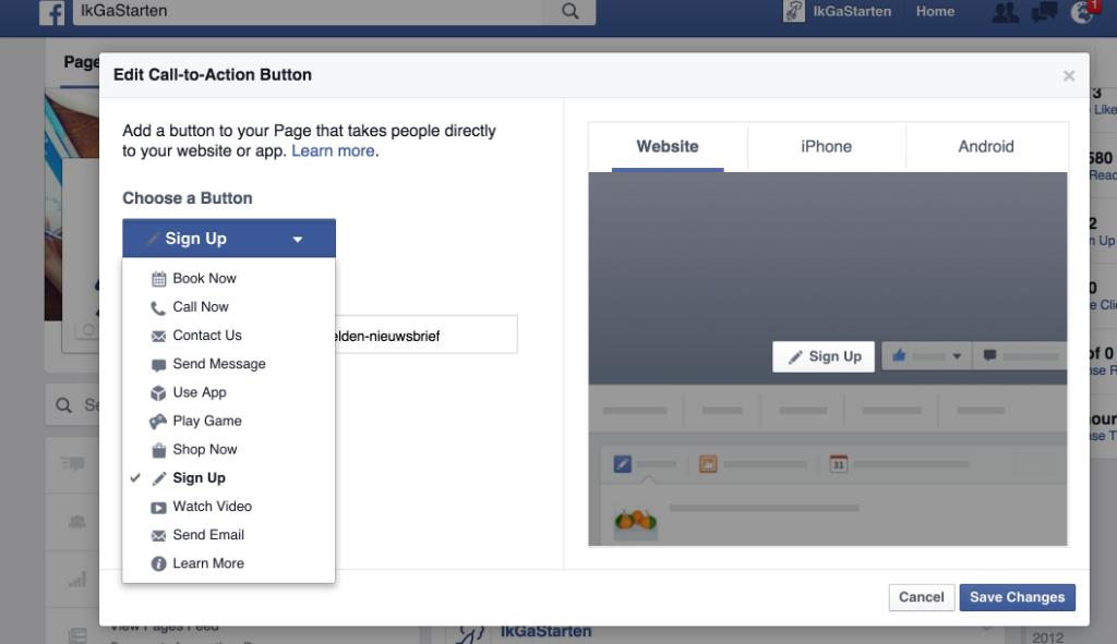 CTA button zakelijk Facebook account